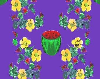 watermelon art / purple wall art / kitchen art / large wall art / watermelon print / fruit illustration / food art / botanical print