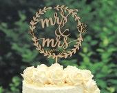 Rustic Linden Wood Wedding Cake Topper, Mr and Mrs Cake Topper Design 108