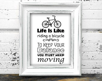 Life Is Like A Bicycle A4 Poster - Instant Download Digital Typography Print