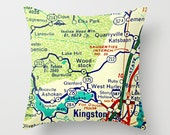 New York Map Pillow, Custom NY Map, Any City Brooklyn, New York Art, Albany, Lake Placid ADK NYC Pillow Decorative Pillow Cover Throw Pillow