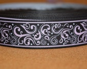 PINK & BLACK SWIRL Printed grosgrain ribbon sold by the yard