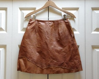 1970s Short Leather Patchwork A-Line Skirt