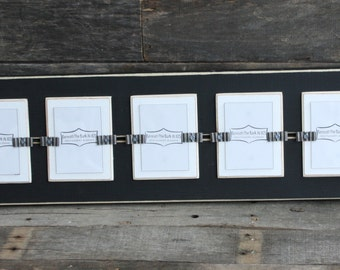 """Picture Frame - School Pictures - Distressed Wood Edges - Holds 5 - School Photos 2 1/ 2"""" x 3 1/2 """" - Black and White"""