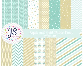 INSTANT DOWNLOAD, aqua and gold digital paper for commercial use or personal use
