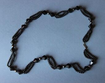 Jet Black and Hematita Necklace.