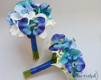 Blue Wedding Bouquet, Blue Flowers, Orchid Bouquet, Teal Orchid, Turquoise Orchid, Blue Orchid and Calla Lily Real Touch Bridesmaid Bouquet