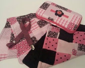 CLEARANCE! Reg 35.00! Ready to Ship Black and Hot Pink Floral Patchwork Baby Gift Set