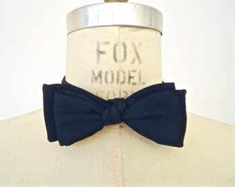 "1950s/60s Black Butterfly Bow Tie / men's vintage Adjustolox ""Hand Tied Slide Band Bow"""