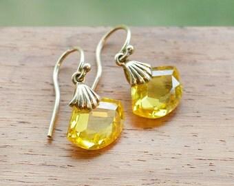 9ct Gold Yellow Topaz Earrings fine crystal simple drop november birthstone jewelry