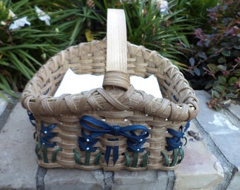 Texas Bluebonnet Napkin Basket Kitchen Basket Handwoven Basket