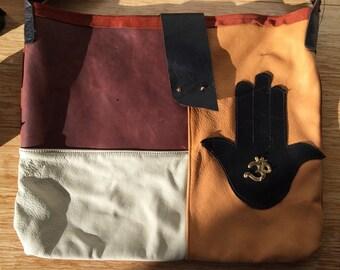 Leather Handmade Hamsa Bag with Om Symbol