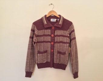 Vintage Knit Cardigan / Large / Purple Sweater