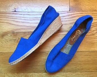 Vintage Blue Espadrilles / 5 - 5 1/2 / Vintage Wedges