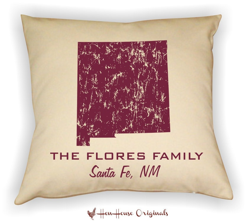 Decorative Pillows With States : New Mexico Pillow State Pillow Personalized State Pillow