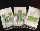 Green and Brown Sealife Burp Cloth Set