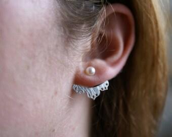 Lace jacket sterling silver Earrings, jacket earrings, silver studs, lace earrings, pearl studs, lace jackets, montreal, jacket earrings