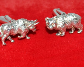 Authentic TIFFANY & CO Sterling Silver Bull Bear Finacial Cufflinks