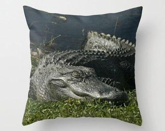 Sleeping Giant Photo Throw Pillow, Throw Pillow, Photo Pillow, Nature, Alligator