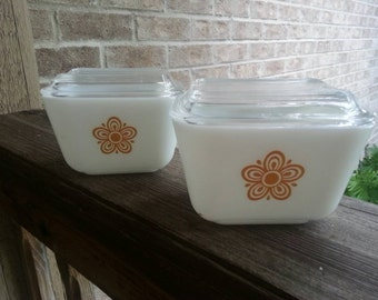 Pair of Pyrex Golden Butterfly Storage Containers with Lids