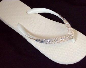 Crystal Wedding Flip Flops w/ Swarovski Moonlight Ivory Cream Rhinestones Beach Bridal Full Moon Iridescent Havaianas or Cariris Heel Shoes