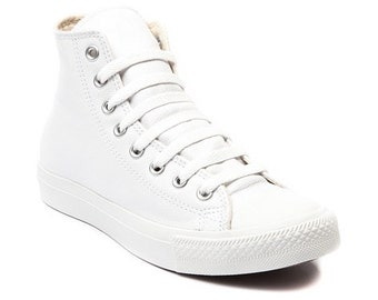 White Converse Leather High Top Trainer Monochromatic Custom Kick w/ Swarovski Crystal Rhinestone Chuck Taylor Wedding All Star Sneaker Shoe