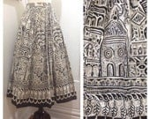 "Reserved for Deirdre / 1950s Vintage Mexican Hand Painted Tourist Skirt / Medium / 27"" Waist"
