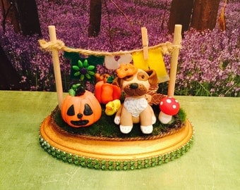Polymer clay doggy with pumpkin,Halloween,fall,doggy diorama,figurine,sculpted dog,fall decor,Autumn decor,mantle display,desk decorations.