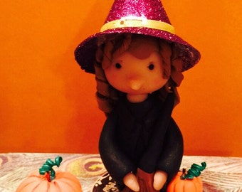 Polymer clay Witch with pumpkins,Halloween,fall,doggy diorama,figurine,sculpted dog,fall decor,Autumn decor,mantle display,desk decorations.