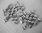 STERLING SILVER 50-Count 10mm x 10mm BUTTERFLY Shaped Beads for Jewelry Making   Spacer Beads Flowers Butterflies