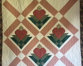 Heart Blossom Wall Quilt in Cream, Rust, Green, and Peach