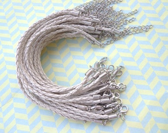 50pcs 3mm 7 -9 inch adjustable rice  faux braided leather bracelet with lobster clasp
