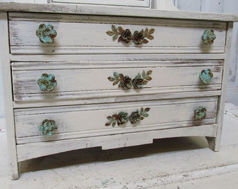 Antique child's play dresser salvaged reclaimed shabby cottage chic large jewelry organizer or for girls room home decor anita spero design