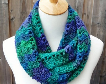 Multicolor Infinity Scarf - Green, Purple  and Blue Infinity Scarf - Crochet Infinity Scarf - Circle Scarf - Ready to Ship