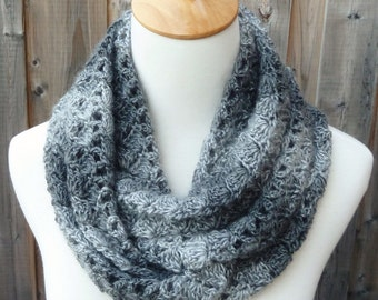 Multicolor Infinity Scarf - Charcoal and Light Gray Infinity Scarf - Crochet Infinity Scarf - Circle Scarf - Ready to Ship