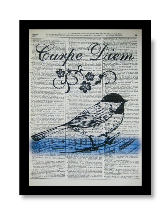 Carpe Diem Prints, Song Bird Art Print, Carpe Diem Decor, Blue Bird Prints, Size 8x10 size A4,Vintage Dictionary Page Art, Bird Paintings