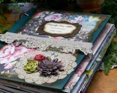 Fairytale Wedding Guest Book Shabby Scrapbook Planner Photo Book Vineyard Woodland Enchanted Forest Rustic Boho Garden Party Green Pink