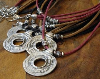 Long necklace - camel leather - tribal/ethnic pendant - Boho - hippie - gypsy - IBIZA - gypset - Bahia Del Sol