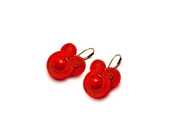 Small red earrings dangle / stud. Red beaded earrings. Red folk earrings. Red flamenco earrings. Gift for her under 20. Bridesmaid gift red