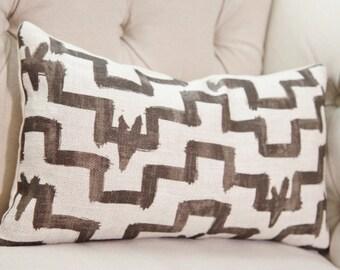 Zak and Fox Designer Linen Pillow - Tulu -  Brown Pillow Cover - Geometric Throw Pillow - Modern Brown Pillow - Greige - Neutral Pillow