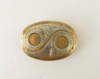 Vintage 1906 Indian Head Penny Belt Buckle Ca 1980s, Award Design Silversmith Collection Crumrine Storage Box
