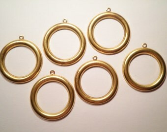 6 Brass Vintage Hoop Earrings