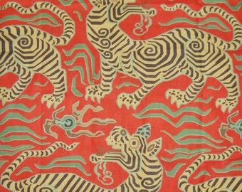 CLARENCE HOUSE Chinoiserie Tibet Dragon Linen Toile Fabric 10 Yards Cinnabar