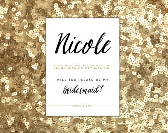 Will You Be My Bridesmaid Card Personalized Maid of Honor Matron of Honor Ask Your Bridesmaid