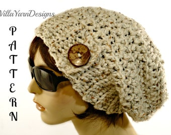 Crochet Slouchy Hat Pattern, Oversized Slouchy Hat, Hat With Button, Crochet Slouchy Hat, Women's Slouchy Beanie, Chunky Slouchy Hat  #205