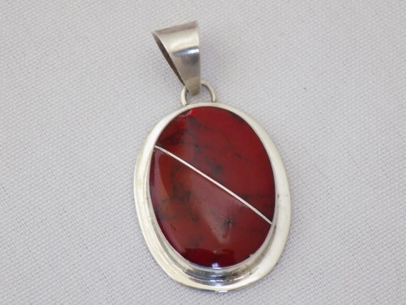 sterling silver bezel set mexico red jasper stone pendant