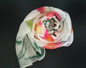 Handpainted floral silk scarf,one-of-a-kind,scarves for women,red,pink,green,white, gifts for her,crepe de chine, easter gifts