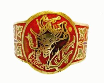Boho Cuff Bracelet Zodiac Taurus Brass Enamel Bangle