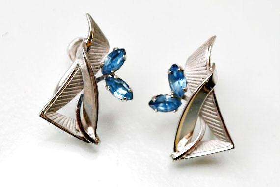 Sterling Earrings Silver Blue Rhinestone screw back earrings