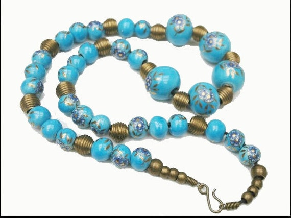 Brass and Blue Bead Necklace - Ceramic Blue - Floral  flower Bead Boho