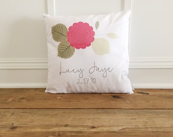 Custom Name Flower Pillow